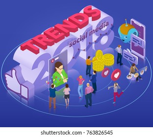 Trends in social network 2018. Flat 3d isometric banner. Chatbot, video broadcast, stories, SMM promotion, online analytics. Inspiration concept template layout, diagram. Vector illustration.