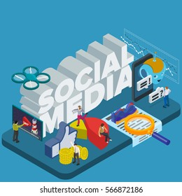 Trends in social networks 2017. Flat 3d isometric banner. Chatbot, video 360 degrees, SMM promotion and marketing. Inspiration concept template layout, diagram, step up. People at work