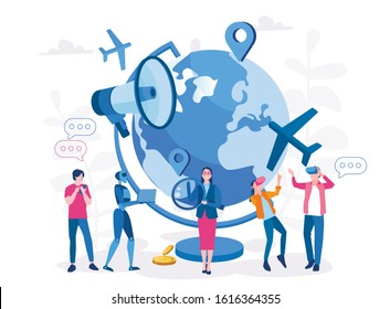 TRENDS IN TRAVEL INDUSTRY, Vector illustration for web banner, infographics, mobile.  Future travel with AI, VR, robots, IOT, app.