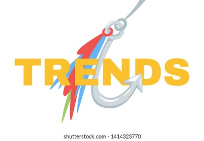 Trends typography on fishhook web banner template. Future tendency chasing, forecasting flat vector poster with text. Fishing as market analysis, business analytics metaphor illustration