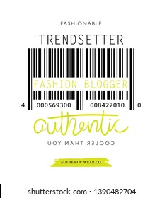 Trendsetter, fashion blogger, fashionable text and authentic hand lettering / Vector illustration design for fashion graphics, t shirt prints, posters etc