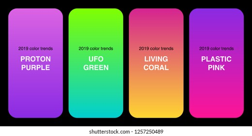 Trendy 2019 Color Palette Gradients collection as set of Plastic Pink, UFO Green, Proton Purple and Living Coral