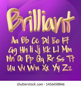 Trendy 3d alphabet set, bold modern golden shiny font with uppercase and lowercase letters, creative vector typography
