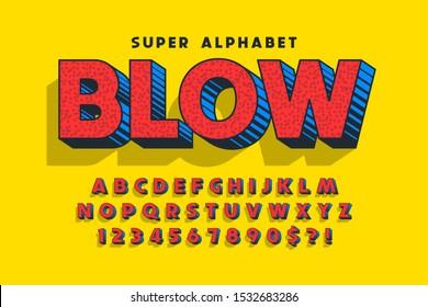Trendy 3d comical design, colorful alphabet, typeface. Color swatches control.