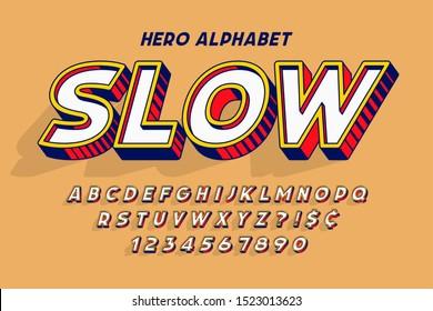 Trendy 3d comical font design, colorful alphabet, typeface. Color swatches control. 15 degree skew.