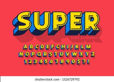 Trendy 3d comical font design, colorful alphabet, typeface. Color swatches control.