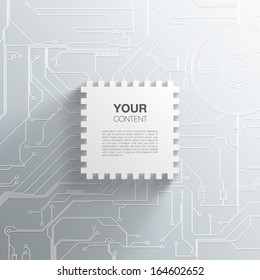 Trendy 3D Microchip Design With Transparent Shadow And Detailed Printed Circuit Board Background