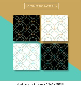 Trendy abcstract geometric seamless pattern collection. Turquoise and gold color. Vector eps10 editable.