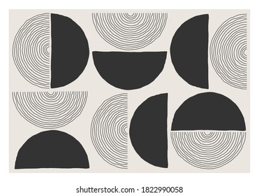Trendy abstract aesthetic creative minimalist artistic hand drawn composition ideal for wall decoration, modern interior design, vector illustration