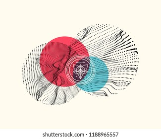 Trendy abstract background. Array with dynamic particles. Modern science or technology element. Cyberspace grid illustration. Vector composition.