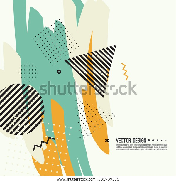 Trendy abstract background. Collage of geometric elements.