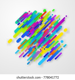 Trendy abstract background with colorful rounded lines. Dynamic bright pattern. Vector style illustration.