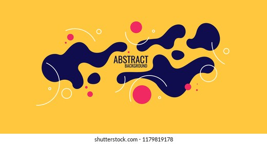 Trendy abstract background. Composition of amorphous forms and lines. Vector illustration