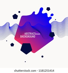 Trendy abstract background. Composition of geometric shapes and splash. Vector illustration