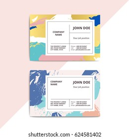 Trendy abstract business card templates. Modern luxury beauty salon or cosmetic shop layout with artistic brush stroke pattern. Vector fashion luxury background design with information sample text.