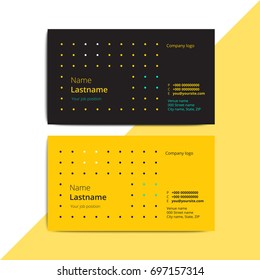 Trendy abstract business card templates. Modern corporate stationary id layout with geometric lines pattern. Vector fashion background design with information sample text.