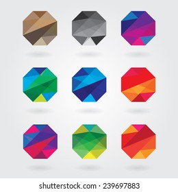 trendy abstract colorful polygon style business visual identity logotype design elements in triangular geometric pattern- web design elements