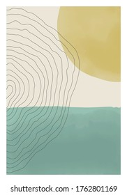 Trendy abstract creative minimal artistic hand painted composition ideal for wall decoration, as postcard or brochure design, vector illustration