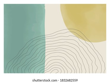 Trendy abstract creative minimal artistic hand painted composition ideal for wall decoration, as poster or desktop wallpaper, vector illustration