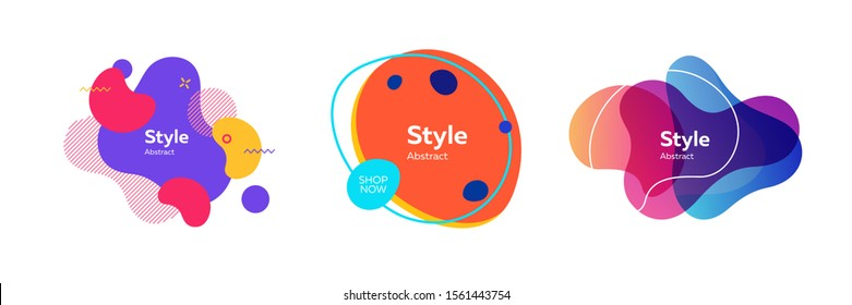 Trendy abstract element collection. Colorful fluid shapes, flowing liquid, dynamical colored forms and lines. Trendy design for logo, label, advertising banners