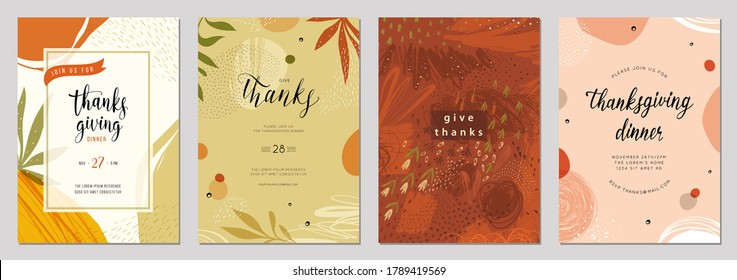 Trendy abstract floral Thanksgiving templates. Good for poster, card, invitation, flyer, cover, banner, placard, brochure and other graphic design. Vector illustration.