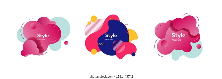 Trendy abstract flux element collection. Colorful shapes, flowing liquid, dynamical colored forms and lines. Modern design for logo, label, advertising banners
