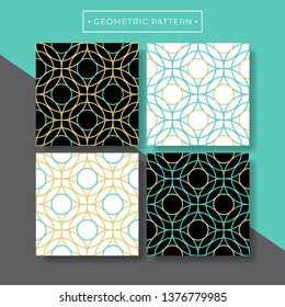 Trendy abstract geometric seamless pattern collection. Turquoise and gold color. Vector eps10 editable.