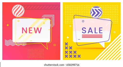 Trendy Abstract Geometric Vector Bubbles. New and Sale. Vivid Transparent Banners in Retro Poster Design Style. Vintage Colors and Shapes. Red, Yellow and Violet colors.