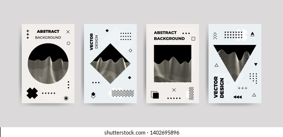 Trendy abstract glitch art poster set. Vector cover templates with abstract waves, geometric shapes in bauhaus, memphis, hipster style. Design background for flyers, placards, brochures, posters