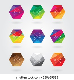 trendy abstract hexagon icon elements set in colorful polygon style with triangular geometric pattern- business hipster style logotype