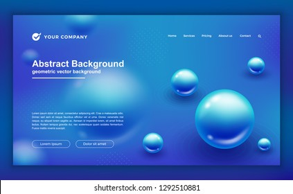 Trendy abstract liquid fluid background for your landing page design. Minimal background for website designs. Trendy blue gradient background. EPS10 vector background.