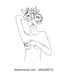 Trendy abstract one line woman body with flowers and leaves. Girl covering her nude breast. Continuous line print for textile, poster, card, t-shirt etc. Vector fashion illustration.