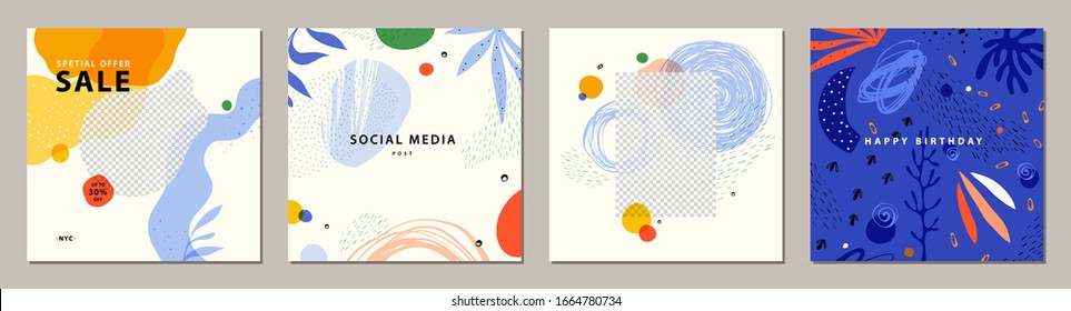 Trendy abstract square art templates. Suitable for social media posts, mobile apps, banners design and web/internet ads. Vector fashion backgrounds.