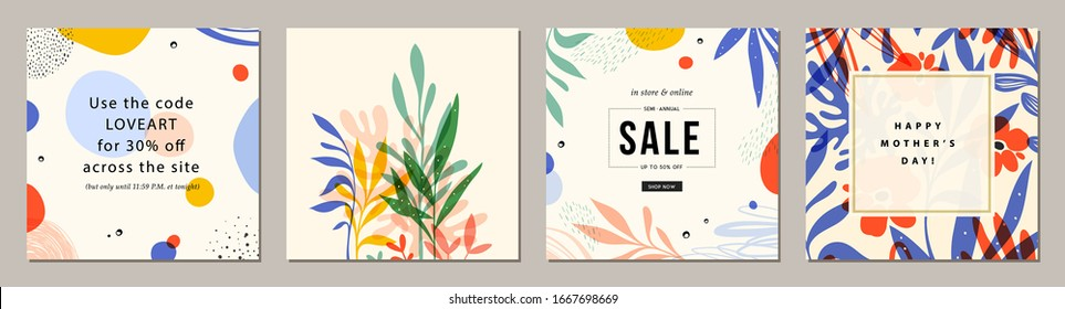 Trendy abstract square art templates with floral and geometric elements. Suitable for social media posts, mobile apps, banners design and web/internet ads. Vector fashion backgrounds.