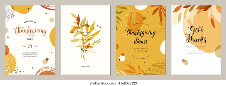 Trendy abstract Thanksgiving templates. Good for poster, card, invitation, flyer, cover, banner, placard, brochure and other graphic design. Vector illustration.