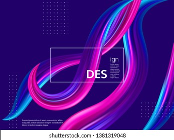 Trendy abstract wave liquid background. 3d fluid shapes composition, color flow minimal design. Vector illustration.