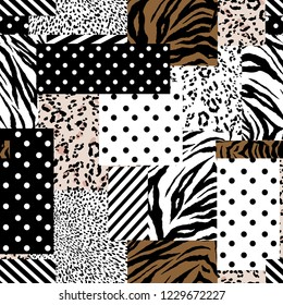 Trendy animal skin mixed with geometric pattern ,polka dots and stripe in modern patchwork collage style seamless vector design for fashion,fabric , wallpaper and all prints