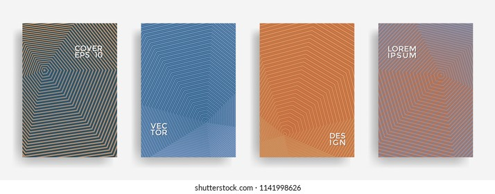Trendy annual report design vector collection. Halftone stripes edged texture cover page layout templates set. Report covers geometric design, business booklet pages corporate banners.