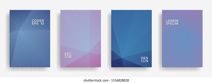 Trendy annual report design vector collection. Gradient grid texture cover page layout templates set. Report covers geometric design, business booklet pages corporate banners.