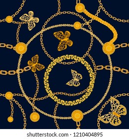 Trendy Art Deco style print with buttereflies. Seamless vector pattern with chains and golden rings. Vintage textile collection. On black background.