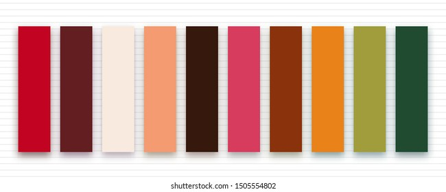 Trendy autumn fall 2019 colors for fashion industry. Vector color palette on striped background. Inspirational swatches for seasonal backgrounds, projects.