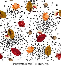 Trendy Autumn leaves,pine nuts and flower elements mix with animal skin leopard in hand drawn style seamless pattern vector for fabric and all prints on white background.