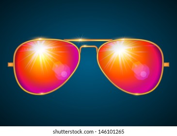 Trendy aviator shape golden glasses, red lens isolated - vector illustration.
