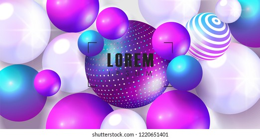 Trendy background with colored balls. Modern design.Universal vector background for poster, banners, flyers, card.