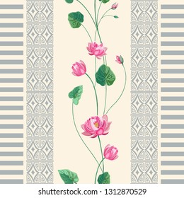 Trendy background with geometric ornament and floral motifs pastel colors. Pink Lotus flower and vertical border of elements of boho style. Vector seamless pattern for fashion prints.