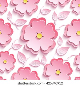 Trendy background seamless pattern with pink 3d flower sakura - japanese cherry tree, branch and leaf cutting paper. Floral stylish modern wallpaper. Vector illustration
