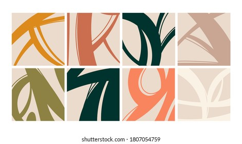 Trendy Backgrounds, Patterns. Various Doodle Shapes and Objects. Freehand Lines, curves. Brush stroke style. Hand drawn abstract Vector set. All elements are isolated. Pastel colors