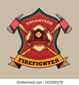 Trendy badge with red protective helmet and crossed axes vector illustration. Colorful label for volunteer firefighters. Emergency and firefighting concept can be used for retro template
