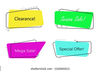 Trendy banner flat design isolated on white background. Banner for web site, design template, sticker and badge. Useful for placard, cards and poster. Collection of creative banner, modern concept