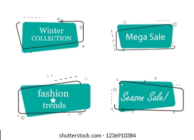 Trendy banner flat design set isolated on white background. Banner for web site, design template, label, sticker and badge. Useful for placard, cards and poster. Modern collection of creative banners